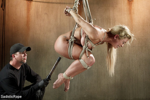 Guy in black ties blonde with rope, susp - XXX Dessert - Picture 10