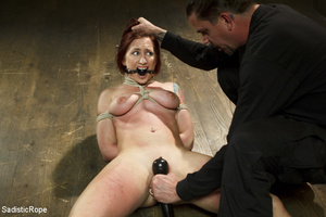 Redhead babe is roped and hung as guy sp - XXX Dessert - Picture 1