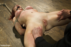 Redhead babe is roped and hung as guy sp - XXX Dessert - Picture 2