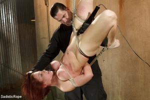 Redhead babe is roped and hung as guy sp - XXX Dessert - Picture 6