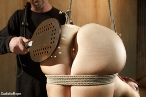 Redhead babe is roped and hung as guy sp - XXX Dessert - Picture 9