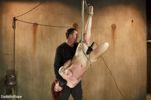 Redhead babe is roped and hung as guy sp - XXX Dessert - Picture 12