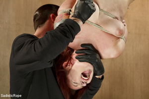 Redhead babe is roped and hung as guy sp - XXX Dessert - Picture 14