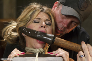 Guy ropes chick to cage, wall and table  - XXX Dessert - Picture 2