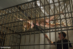 Guy ropes chick to cage, wall and table  - XXX Dessert - Picture 4