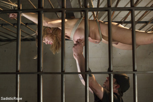 Guy ropes chick to cage, wall and table  - XXX Dessert - Picture 5