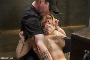 Guy ropes chick to cage, wall and table  - XXX Dessert - Picture 7