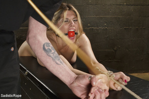 Guy ropes chick to cage, wall and table  - XXX Dessert - Picture 11