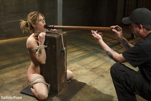 Guy ropes chick to cage, wall and table  - XXX Dessert - Picture 14