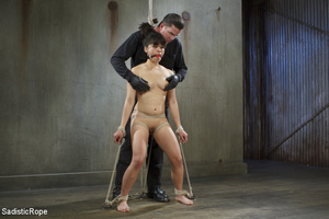 Chick tied with rope and suspended upsid - XXX Dessert - Picture 2