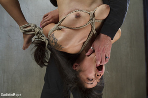 Chick tied with rope and suspended upsid - XXX Dessert - Picture 13