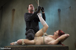Slim babe gets roped and hung by guy in  - XXX Dessert - Picture 6