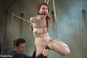 Slim babe gets roped and hung by guy in  - XXX Dessert - Picture 15