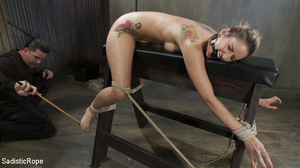 Tattoo babe gets tied to bench, roped an - XXX Dessert - Picture 5