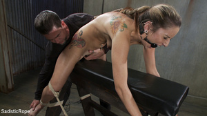 Tattoo babe gets tied to bench, roped an - XXX Dessert - Picture 8
