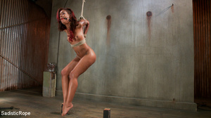 Chocolate redhead bound with ropes gets  - XXX Dessert - Picture 1