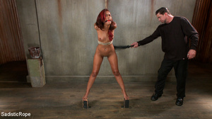 Chocolate redhead bound with ropes gets  - XXX Dessert - Picture 13