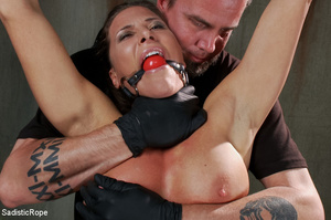 Chick bound with ropes get whipped and c - XXX Dessert - Picture 1