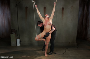 Chick bound with ropes get whipped and c - XXX Dessert - Picture 3