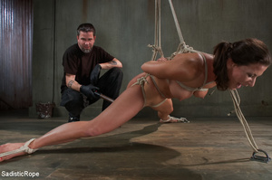 Chick bound with ropes get whipped and c - XXX Dessert - Picture 4