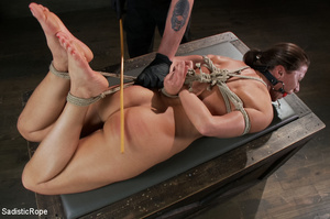 Chick bound with ropes get whipped and c - XXX Dessert - Picture 12