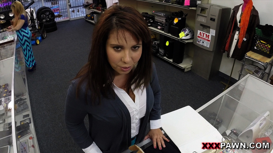 Big-titted brunette babe in an office suit  - XXX Dessert - Picture 1