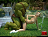 Huge muscular green 3D monster with a sword doggystyling a hot blonde