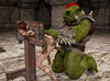 Fairy beauty was caught in stocks and banged badly by a huge green orc
