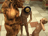 Lustful Pharaoh woman and her angry huge monster torturing hard a smoking