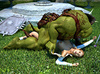 Ginger ponytailed babe getting ripped by a muscular green orc, one of