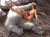 Horny Bigfoot handling variously sexy brunette scientist in the cave
