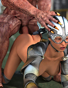 Busty pilot babe getting banged by a spotted creature with long nail during