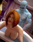 Nasty ginger slut having a wet sex affair with a blue freak in the hamam