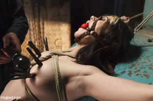 Sweet lass gets roped, pegged on tits an - XXX Dessert - Picture 5