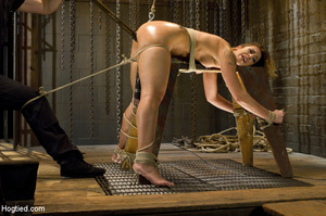 Sexy chick roped to bench and then hung  - XXX Dessert - Picture 5