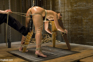 Sexy chick roped to bench and then hung  - XXX Dessert - Picture 8