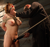 Fat guy in mask bounds chick with ropes and pounds pussy and ass with