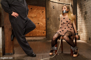 Slim sexy damsel stripped, roped and hun - XXX Dessert - Picture 1