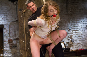 Lusty blonde pegged on cunt and tied wit - XXX Dessert - Picture 10