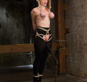 Big boobs damsel roped with tits tied and body hung gets fucked with pole