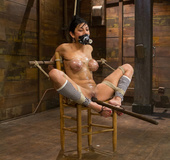 Coffee flavored babe tied to chair then hung gets dildo in ass and cunt
