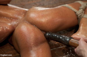 Ebony babe sweaty as she is roped and bo - XXX Dessert - Picture 11