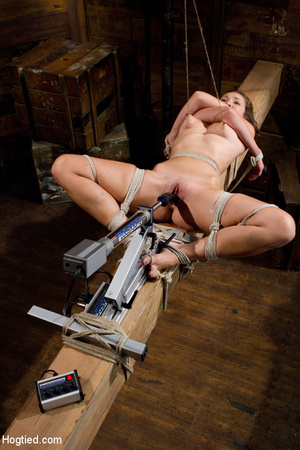 Slim sexy babe roped to wood with tits t - XXX Dessert - Picture 9
