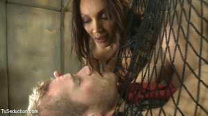 Guy in net and tied up with ropes sucks  - XXX Dessert - Picture 13