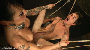 Hot tattooed shemale and slim dude in ho - XXX Dessert - Picture 5