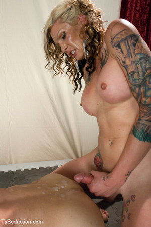 Colorful tattooed shemale gets guy to su - XXX Dessert - Picture 13