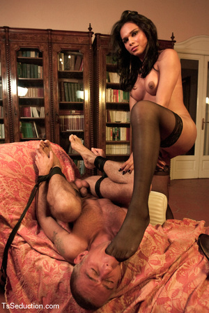 Tied up guy sucks tranny's feet and cock - XXX Dessert - Picture 1