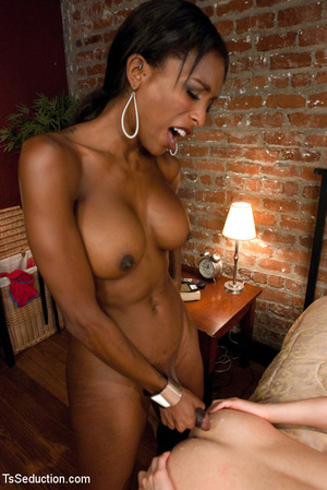 Big tits sexy black tranny welcomes whit - Picture 13