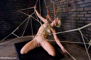 Horny blonde tied legs apart on sofa wit - XXX Dessert - Picture 4