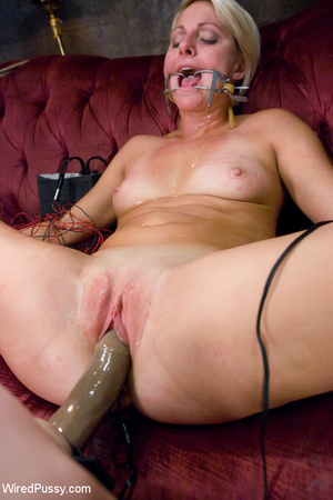 Horny blonde tied legs apart on sofa wit - XXX Dessert - Picture 12
